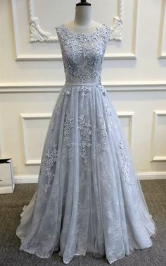 Gray Blue Lace Wedding Dress by WeekendWeddingDress on Etsy