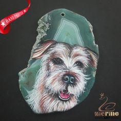 HAND PAINTED DOG GEMSTONE UNIQUE NECKLACE PENDANT BEAD A1703 0032 #ZL #PENDANT