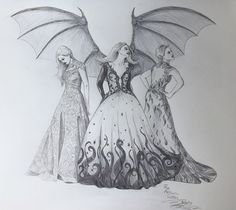 By feyre-archerons-scrapbook: The Archeron Sisters Elain, Feyre, and Nesta - Ballpoint pen This has been a real labour of love, one which has taken me weeks of on/off drawing to finally reach this moment. I'm so pleased and proud of how it's turned out, and hope it's a worthy addition to all the other incredible fan art these books have inspired.
