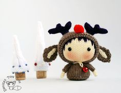 Christmas Deer Doll. Toy from the Tanoshi series. - knitting pattern (knitted round)