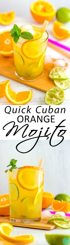 Cuban Orange Mojito - Ultimate summer cocktail recipe! Only 5 ingredients and super easy to make! | happyfoodstube.com