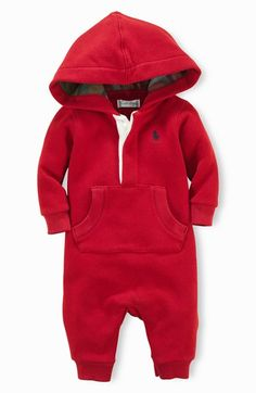 Ralph Lauren Hooded Romper (Baby Boys) | Nordstrom. OMG, my baby will live in this.