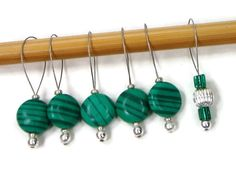 Knitting Stitch Markers Beaded Green Stripe Snagless by TJBdesigns Easy Knitting Projects, Knitting Supplies, Knitting Stitches, Knitting Patterns, Stitch Markers, Green Stripes, Some Fun, Needlework, Handmade
