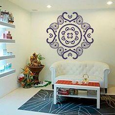 Mandala Wall Art Decals Indian Pattern Yoga Oum Om Sign Decal Vinyl Stickers Home Decor Murals Bedroom Studio Window Ah87 Om Sign, Yoga Studio Decor, Wall Murals, Wall Art, Indian Patterns, Mandala, Decals, Window, Stickers