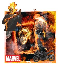 """Johnny Blaze (Ghost rider)"" by lillian-pandola ❤ liked on Polyvore featuring art and bote"