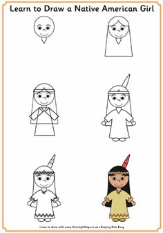Learn to draw a Native American girl/boy, and Pilgrim girl/boy