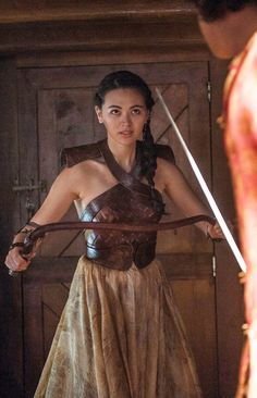"6.01 ""The Red Woman"" – [Nymeria is squaring off to fight Prince Trystane, but as soon as he foolishly turns his back on Obara, she shoves a spear through the back of his head.] NYMERIA: [to Obara] You're a greedy bitch, you know that?"