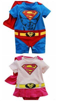 These are so cute and would make a really easy costume. infant superman superwoman onesie with cape