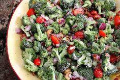 Broccoli Salad: mayonnaise, white wine vinegar, white sugar, broccoli, purple onion, grape tomatoes, raisins, cashew nuts, bacon