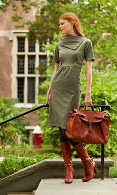 Pretty much love everything about this - bag, boots, dress. Dress is $70 on Shabby Apple.