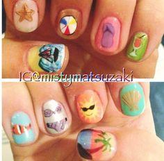 Shellac and gelish nail art. Beach nail design. Summer nail art.
