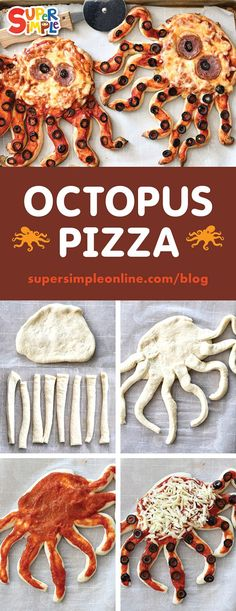 Turn ordinary pizza into an ocean-themed dinner with Octopus Pizzas. Your kids w… Turn ordinary pizza into an ocean-themed dinner with Octopus Pizzas. Your kids will have so much fun ripping off the pizza crust tentacles! Cute Food, Good Food, Yummy Food, Fun Dinners For Kids, Easy Recipes For Kids, Fun Snacks For Kids, Fun Kid Dinner, Fun Meals For Kids, Dinner Ideas For Kids