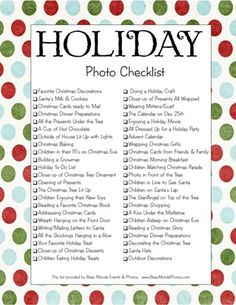 Holiday Photo Checklist Don't forget the camera this year >. Merry Little Christmas, All Things Christmas, Holiday Fun, Christmas Holidays, Christmas Ideas, Holiday List, Christmas Activities, Christmas Traditions, Holiday Photos