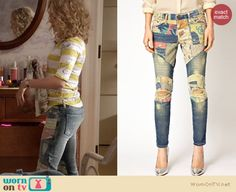 Carrie's patchwork jeans on The Carrie Diaries. Outfit Details: http://wornontv.net/20882 #TheCarrieDiaries #TheCW