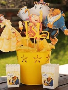 Disney Princess Party Centerpiece- Beauty and the Beast Party, Disney Party… Princess Party Centerpieces, Beauty And The Beast Theme, Beauty Beast, Disney Princess Birthday, Cinderella Party, Festa Party, 4th Birthday Parties, Birthday Ideas, 5th Birthday