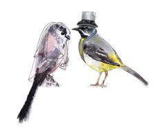 Bride and Groom birds. Long tailed Tit and Grey Wagtail in watercolour and pen.