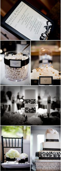 Damask pattern, fantastic flower centerpieces, and stunning cake.