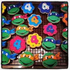 Ninja turtle cookies for a girls 4th birthday party Instagram : vchristine2122