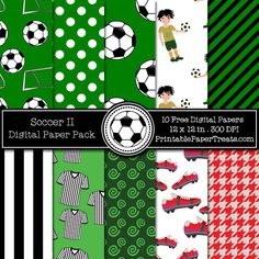 Free Soccer Digital Papers Pack
