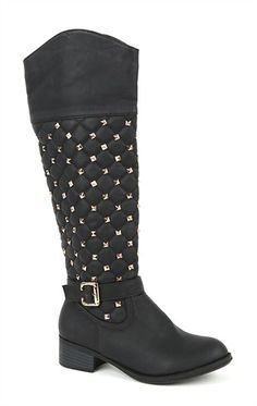 Deb Shops Tall Quilted Riding Boot with Studs and Buckle Strap