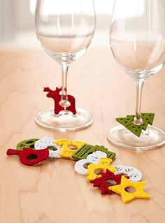 Christmas felt wine glass marker Set of 12 | Simons.ca - These are so cute and would be easy to make!