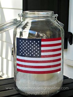 Mason Jar Flag Lanterns by Uncommon Designs - and great decorating ideas for Fourth of July, Memorial Day and Labor Day