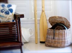 Fishermen's creel, 1950's rowing oars and old fishing float at www.coastalvintage.com.au
