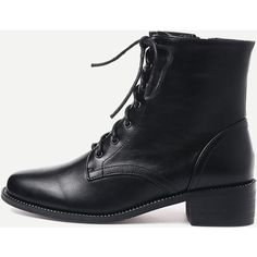 Black Faux Leather Square Toe Lace Up Short Boots (68 AUD) ❤ liked on Polyvore featuring shoes, boots, ankle booties, shein, ankle boots, lace up ankle boots, low heel ankle boots, black low heel booties and low heel booties
