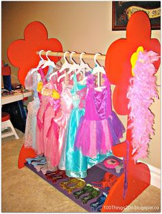 DIY Dress-Up Rack, dress-up storage, little girl's clothing I need to do this! Chloe has over 50 dress up clothes! Dress Up Area, Kids Dress Up, Dress Up Storage, Diy Storage, Dress Up Outfits, Diy Dress, Little Girl Outfits, My Little Girl, Dress Up Stations