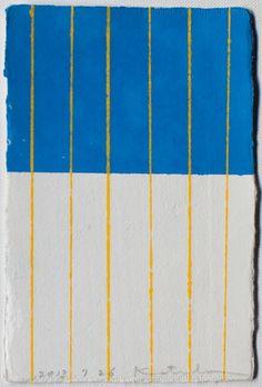 Yellow stripes on blue and white | Pattern by Japenes textile brand SOU · SOU | www.sousou.co.jp