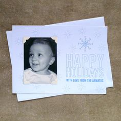 Letterpress Snow Flake Photo Card armatodesign.etsy.com Customizable #letterpress #holiday photo cards. Each set includes 50 letterpress cards with your wording and in your choice of color and font, 50 white envelopes and 200 self adhesive photo corners. You just add your own photo. #christmas #photocard #custom #stationery #snowflake #modernholiday #modern