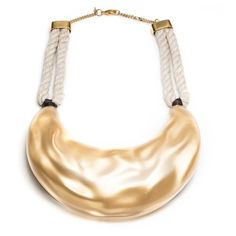 Alexis Bittar Liquid Silk Bib Necklace (£185) ❤ liked on Polyvore featuring jewelry, necklaces, gold, beachy jewelry, handcrafted jewellery, rope necklace, handcrafted jewelry and braided necklace
