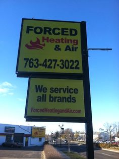 Backlit pole sign in Anoka, MN. Backlit for night time viewing. Great furnace repair and replace service!