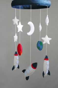 Baby Crib Mobile Baby MobileRocket Mobile Rocket by LoveAllDesigns, $125.00