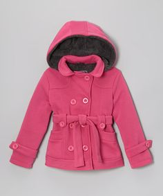Love this Fuchsia Fleece Double-Breasted Coat - Toddler & Girls by YMI Kids on #zulily! #zulilyfinds