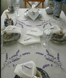 Table Linens, Cross Stitching, Diy And Crafts, Lavender, Embroidery, Table Decorations, Iphone, Color, Cross Stitch Embroidery