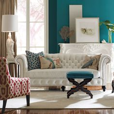 Deep turquoise wall & accents. White Chinchester sofa. #laylagrayce #livingroom