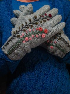Knitted and embroidered gloves.  Embroidery on knitting love that ideal!