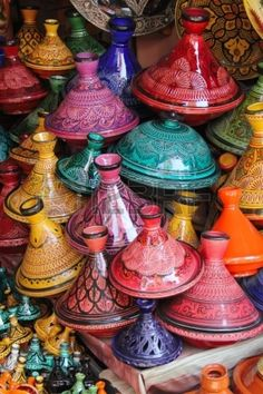 Colorful selection of tagines, the famous traditional pot and dish from Morocco, seen in the souks of the old medina of Marrakech