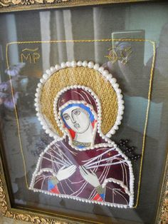 Icon of Our Lady called 'Seven Arrows' by raskinfamilyworkshop