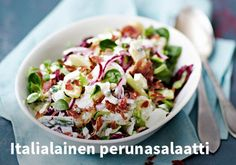 Italialainen perunasalaatti, Resepti: Valio #kauppahalli24 #resepti #vappu #italialainen #perunasalaatti #vappuruoka #valio Vegetarian Recipes, Cooking Recipes, Healthy Recipes, Healthy Food, Bon Appetit, Finger Foods, Pasta Salad, Potato Salad, Salad Recipes