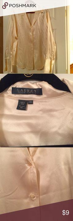 LAUREN RALPH LAUREN Silk Blouse Sz 18W. LAUREN RALPH LAUREN Silk Blouse.  French Cuffs with cufflinks. GREAT for work and evening. Sz 18W. Lauren Ralph Lauren Tops Button Down Shirts