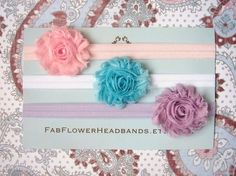 Great Deal - Set of 3 Shabby Frayed Fabric Rose Headbands - All Sizes - Newborn Headband - Baby Headband  - Girl Headband via Etsy