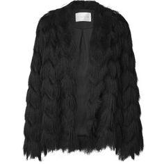 York Fringes Jacket Midnight (1 370 PLN) ❤ liked on Polyvore featuring outerwear, jackets, fringe jacket, pattern jacket, oversized jacket and print jacket