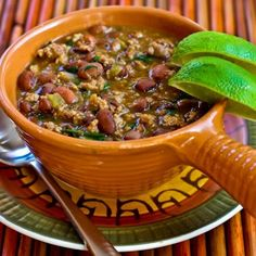 This comforting stew with ground turkey, beans, and lots of green chile flavor would be great to have in the freezer for those nights when you don't have a plan for dinner.   [#SouthBeachDiet Phase one from Kalyn's Kitchen]