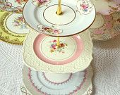 Alice Sings in French, Pale Blue 3 Tier Cupcake Stand of Vintage China for High Tea Tray, Wedding Cake Table, Birthday or Boy Baby Shower. $195.00 USD, via Etsy.