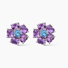 Pendientes de plata con amatistas y con topacios Swiss Blue - Nuestras Joyas - JOYAS Rings, Floral, Flowers, Jewelry, Amethysts, Topaz, Bangle Bracelets, Jewels, Accessories