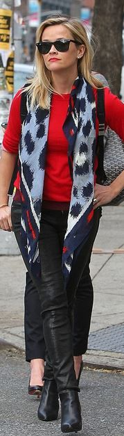 Who made  Reese Witherspoon's black leather pants, red sweater, sunglasses, backpack, zipper ankle boots, and red print scarf?