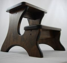 Extra Deep Step Stool Wooden Wood Alder Dark Stain by LaffyDaffy