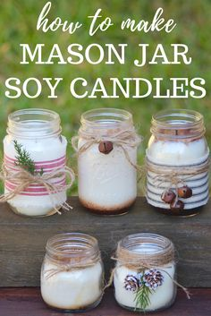 Check out these DIY Mason Jar Soy Candles! Making these soy candles is really easy, and they look so cute in the mason jars! I hope you have as much fun learning how to make these mason jar candles as Mason Jar Projects, Mason Jar Crafts, Mason Jar Diy, Gifts With Mason Jars, Gifts In Jars, Crafts With Jars, Diy Jars, Diy Projects, Diy Candles Easy